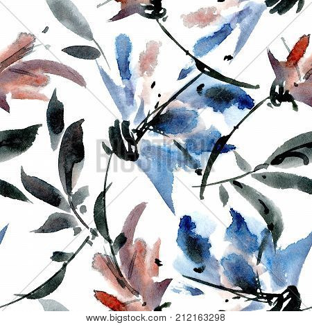 Watercolor and ink illustration of flowers with leaves. Sumi-e u-sin painting. Seamless pattern.