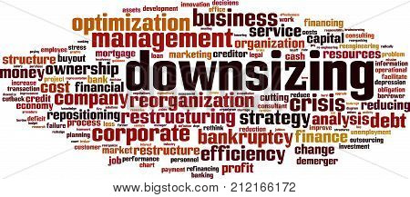 Downsizing word cloud concept. Vector illustration on white