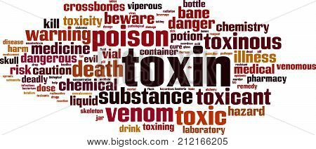 Toxin word cloud concept. Vector illustration on white