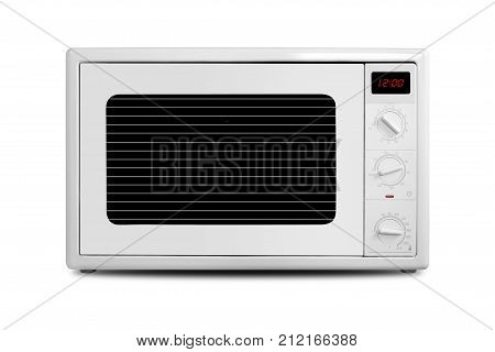 The electric Microwave oven on a white background. It is isolated the worker of paths is present.