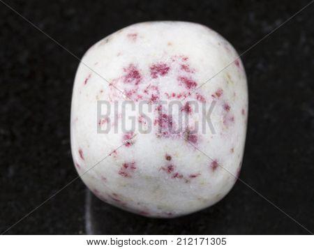Cinnabar In Tumbled White Dolomite Stone On Dark