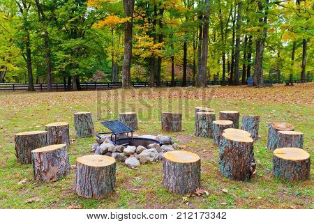 Recreation area in park with fire pit and stumps. Autumn landscape.
