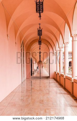 SARASOTA USA - APRIL 22 2016: Loggia of John and Mable Ringling Museum of Art. State art museum of Florida located in Sarasota Florida USA.