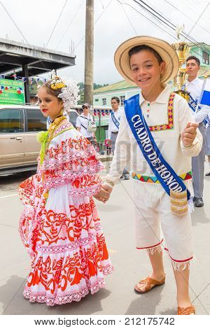Panama november 2017 These children are dressed in traditional clothes goes to the parade of Panama Independence Day to celebrate the liberation of Spanish domination.