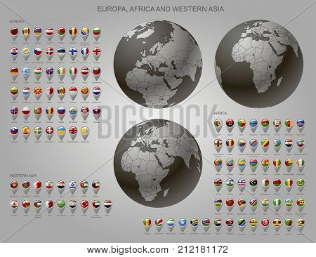 Globes with Europe, Africa and Western Asia with borders of Sovereign states and map marker set with state flags of continents with captions in alphabet  order