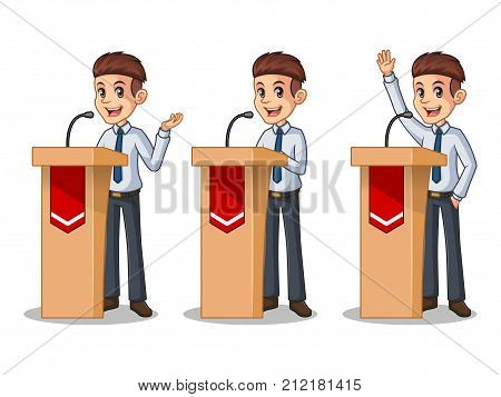 Set of businessman in shirt cartoon character design politician orator public speaker giving a talk speech presentation standing behind rostrum podium, isolated against white background.