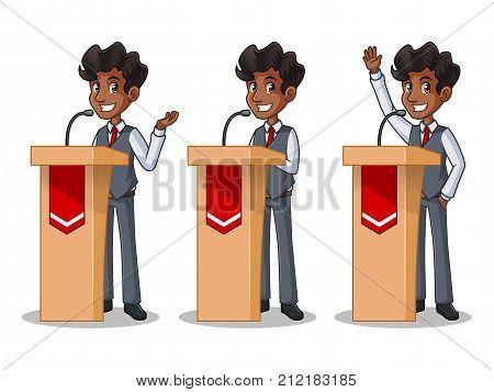 Set of businessman in vest cartoon character design politician orator public speaker giving a talk speech presentation standing behind rostrum podium, isolated against white background.