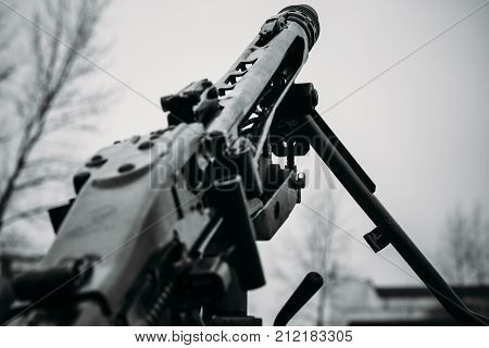 German machine gun MG-42 in black and white tones