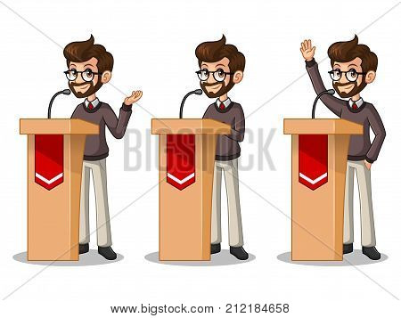 Set of hipster businessman cartoon character design politician orator public speaker giving a talk speech presentation standing behind rostrum podium, isolated against white background.