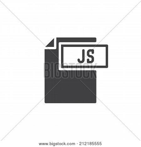 Js format document icon vector, filled flat sign, solid pictogram isolated on white. File formats symbol, logo illustration.