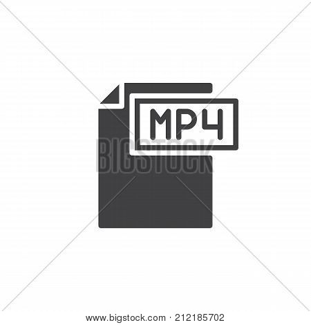 Mp4 format document icon vector, filled flat sign, solid pictogram isolated on white. File formats symbol, logo illustration.