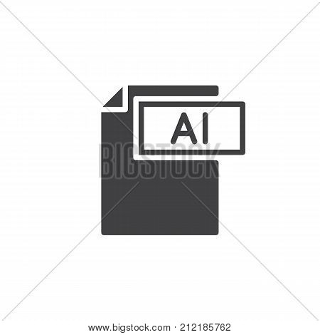 Ai format document icon vector, filled flat sign, solid pictogram isolated on white. File formats symbol, logo illustration.