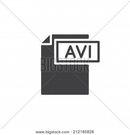 Avi format document icon vector, filled flat sign, solid pictogram isolated on white. File formats symbol, logo illustration.