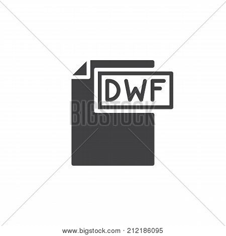 Dwf format document icon vector, filled flat sign, solid pictogram isolated on white. File formats symbol, logo illustration.