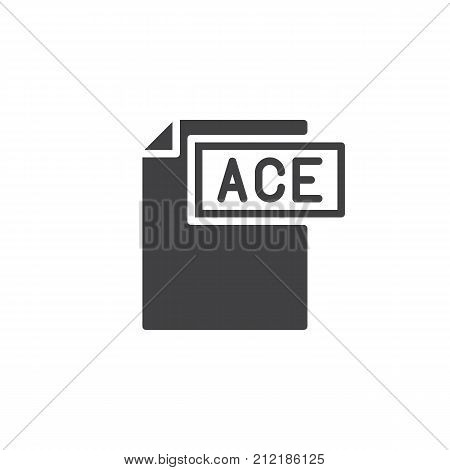 Ace format document icon vector, filled flat sign, solid pictogram isolated on white. File formats symbol, logo illustration.