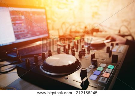 DJ console mixers for sound and music. Concept party