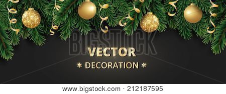 Winter holiday background. Border with Christmas tree branches. Garland, frame with hanging baubles, streamers. Great for Christmas, New year cards, banners, headers, party posters.