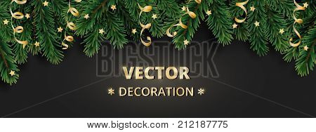 Winter holiday background. Border with Christmas tree branches and ornaments. Realistic fir needles garland, frame with streamers. Great for Christmas, New year cards, banners, headers, party posters.