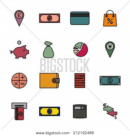 Set of colored financial icons of thin lines. Flat style vector illustration.