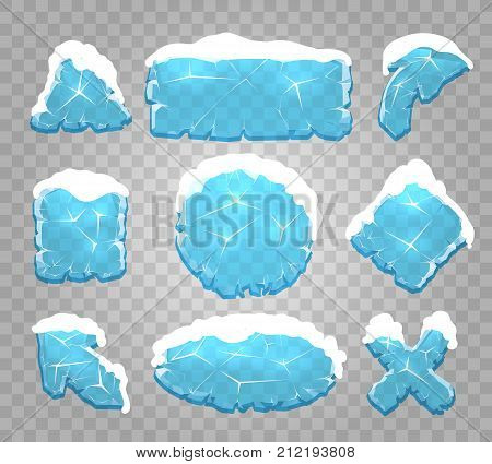 Ice buttons. Icy crystals pannels, diamond glass cold frozen frames vector illustration