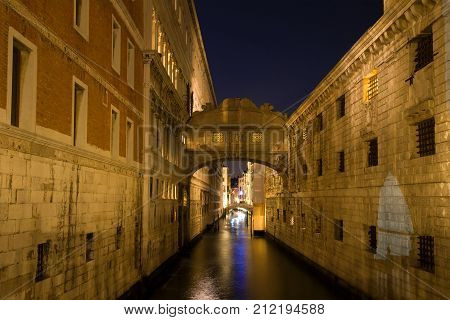 Bridge of Sighs in the night scenery. Venice, Italy