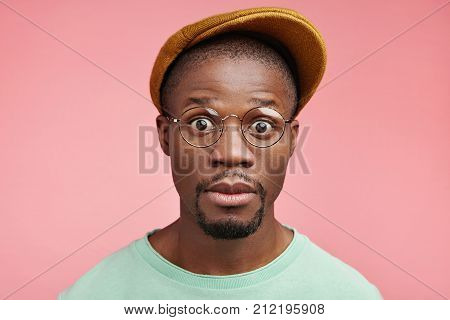 Shocked Black African American Male Driver Realizes That His Car Is Brocken, Has No Instruments For