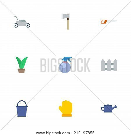 Flat Icons Plant, Hacksaw, Lawn Mower And Other Vector Elements