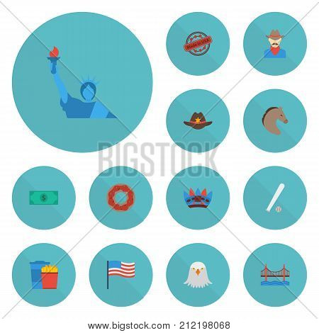 Flat Icons Bridge, Greenback, Freedom Monument And Other Vector Elements