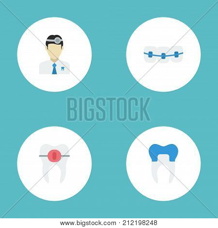 Flat Icons Orthodontist, Dental Crown, Brace And Other Vector Elements