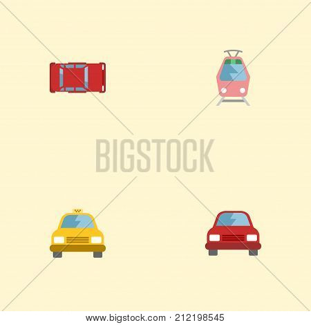 Flat Icons Cab, Streetcar, Automobile And Other Vector Elements