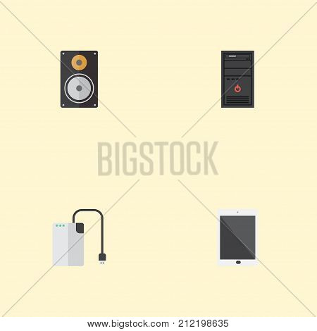 Flat Icons Palmtop, System Unit, Amplifier And Other Vector Elements