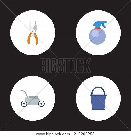 Flat Icons Pruner, Lawn Mower, Bucket And Other Vector Elements
