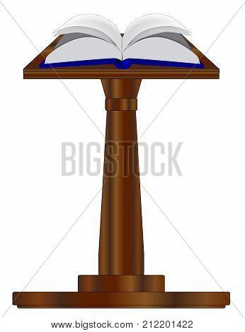 A large open hard back book set upon a pulpit podium