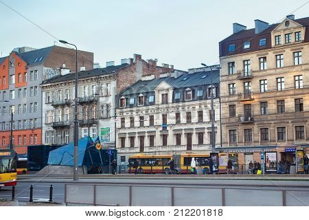WARSAW, POLAND - DECEMBER 31, 2015: Old historical buildings in the Northern Praga district of Warsaw at winter snowless overcast day. Praga is one of the oldest districts in Warsaw.