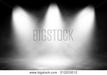 White smoke spotlight three stage design background.