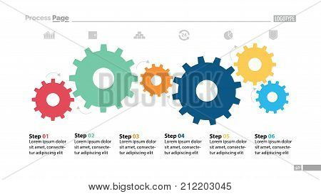 Six step process chart with cogwheel design. Element of chart, diagram, slide templates. Concept for inforgraphic, annual report, presentation. Can be used for topics like business, planning, strategy