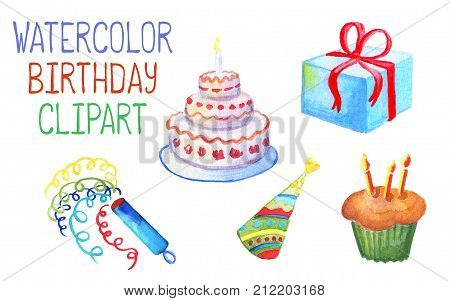 Watercolor birthday decor on white background. Birthday cake with candles. Wrapped gift box with red ribbon. Colorful party hat. Multicolored confetti icon. Candled cupcake for child birthday party