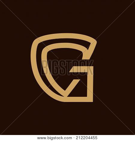 letter G with a shield illustration, a shield within gold G , ititial G security illustration, symbol design, isolated on white background.