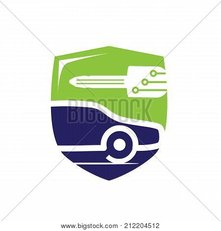 vehicle locksmith with a shield, bold car with a car key and shield, car with a key illustration, key with circuit lines, mobile locksmith illustration, symbol design, isolated on white background