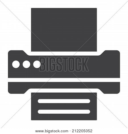 Printer glyph icon, web and mobile, fax sign vector graphics, a solid pattern on a white background, eps 10.