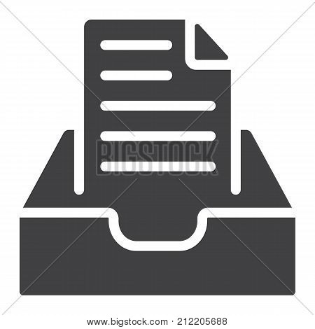 Inbox glyph icon, web and mobile, message sign vector graphics, a solid pattern on a white background, eps 10.