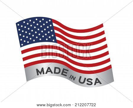 made in USA icon and vector on white background