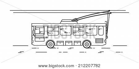 Trolleybus vector illustration. Public transport trolley bus line art concept. Urban city all-service vehicle bus graphic design.