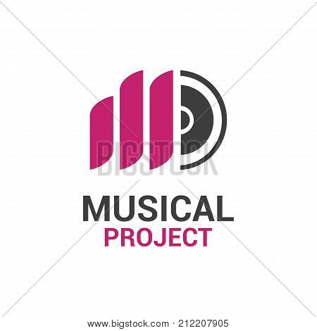 Vector logo template for musical project. Music icon. Letter M logotype label for sound recording studio.