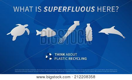 Ocean animals and plastic bottle vector illustration. Sea animals and plastic garbage trash rubbish with recycle sign graphic design. Ocean plastic pollution problem creative concept.