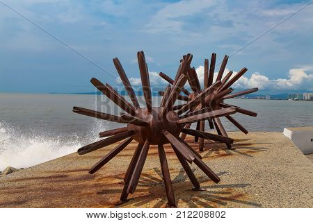 Two Sea Urchins Statues In Puerto Vallarta In Mexico