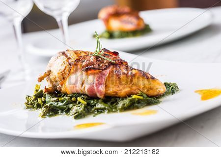 Chicken Grill Breast. Chicken Roasted Breast With Bacon And Spinach On White Plate. Culinary Food  I