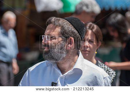 Undefined Orthodox Jewish Man Walk At Mahane Yehuda Market, Popular Marketplace In Jerusalem, Israel