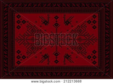Luxury carpet with ethnic patterned tree and birds in red and maroon shades