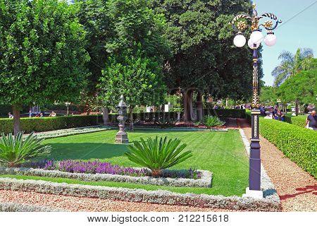 HAIFA, ISRAEL - SEPTEMBER 18, 2017: View of Bahai gardens on mount Carmel in Haifa, Israel